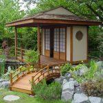 Japanese Garden Exhibition Model Pond Stones Grass Small Bridge Trees Tea House Asian Building Sliding Doors