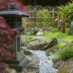 japanese garden exhibition model rocks stones purple leaves grass decor asian landscape
