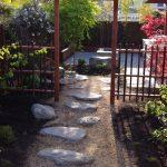Japanese Garden Exhibition Model Stones Gate Roof Fence Flowers Plants Greens Asian Landscape