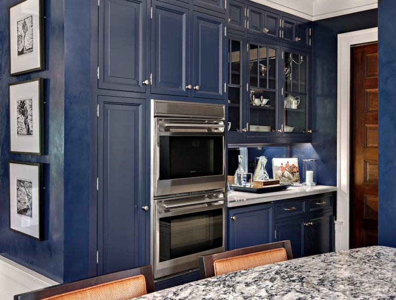 Kitchen Cabinets Navy Blue Wooden Panels Glass Panels Stainless Steel Appliances Quarts Countertop