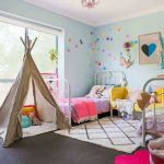 Light Blue Walls With Colorful Dots Decoration Twin Traditional Bed Frame In White White Fluffy Area Rug With Black Accent Lines Cool Shabby Decorative Tent Full Covered Grey Floors