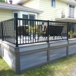 low maintenance deck skirting idea in grey black wrought iron railing system dark brown exterior furniture