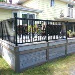 Low Maintenance Deck Skirting Idea In Grey Black Wrought Iron Railing System Dark Brown Exterior Furniture