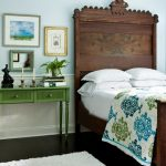 Luxurious Victorian Style Bed Frame With Deep Carved Headboard In Dark Color Green Vintage Console Table With Drawers White Fluffy Area Rug Dark Wood Floors
