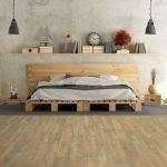 Luxurious Wood Loft Bed Design With Extended Headboard Wood Bedside Tables Grey Rug Floating Wood Shelf Waterproof Wooden Floors