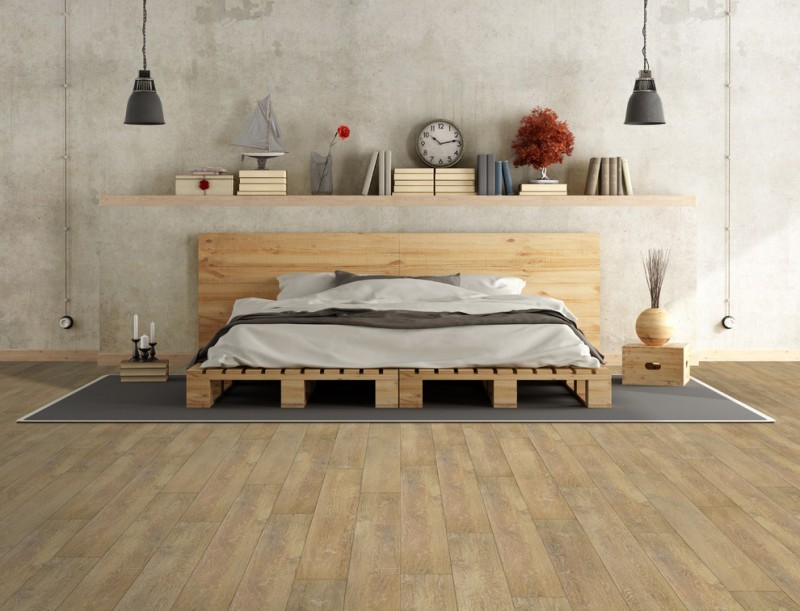 luxurious wood loft bed design with extended headboard wood bedside tables grey rug floating wood shelf waterproof wooden floors