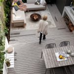Mid Century Deck Idea With Grey Wood Siding Floors Grey Wood Siding Table Shabby Wrought Iron Chairs L Shaped Couch In Grey Some Accent Pillows Small White Bench For Standing Plants