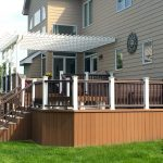 mid sized classic deck idea with raised wood skirting