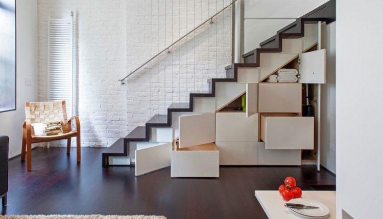 minimalist interior design storage stairs carpet hardwood floor chair railing staircase