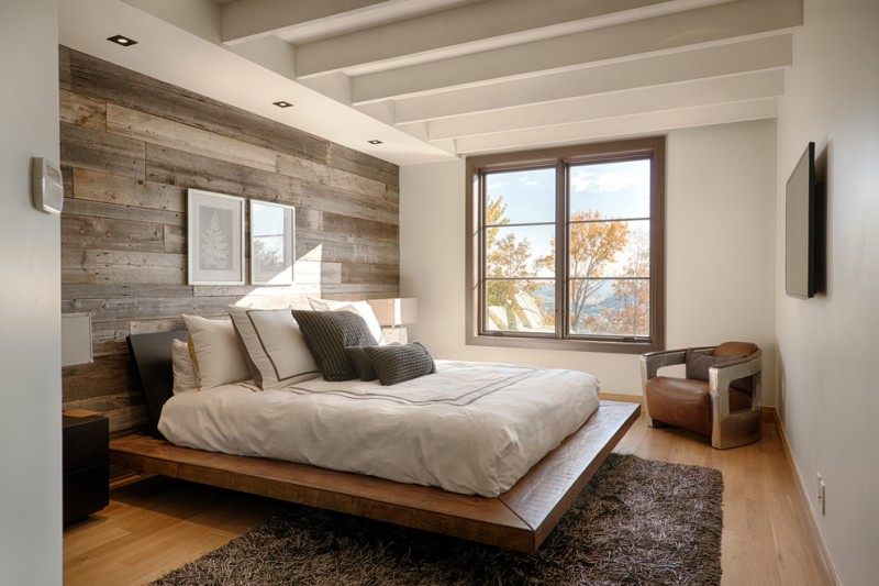 minimalist rustic wood platform bed frame idea with solid wood headboard in black fluffy u0026 deep