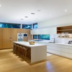 Modern Kitchen Cupboard Designs Wall Shelves Drawers Sink Ceiling Lamps Dining Chairs Window
