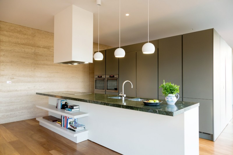 modern kitchen cupboard designs wood floor bookshelves hanging lamps books ceiling lights contemporary design
