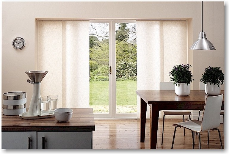 Modern Kitchen Patio Door Window Treatment Sliding Panel Hardwood Floowing Extravagant Dining Table