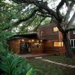 modern simple wood house windows door lighting pathway tree soil contemporary exterior