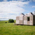 Modern Simple Wooden House Grass Trees Clouds Wooden Walls Door Window Rustic Exterior Wooden Roof