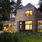 modern simple wooden house windows trees lighting lamps lights door contemporary exterior