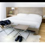 Modern Wood Bed With Headboard A Couple Of X Base Bedroom Stools White Bedroom Mat Wooden Floors