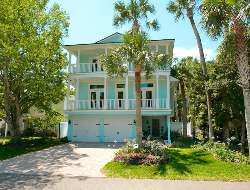 most beautiful exterior of house color combinations grass aqua blue white tropical exterior windows door railings flowers