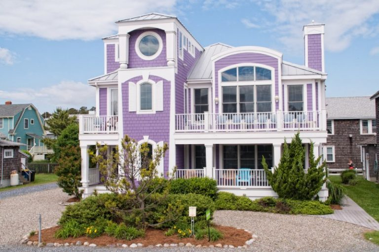 Most Beautiful Exterior Of House Color Combinations Purple White Door Windows Railing Beach Style Home