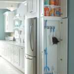 Multifunctional Kitchen Cabinet White Minimalis Style Small Modern Sink Refrigerator Space Cleaning Storage