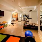 Nicely Designed Basement Floors Concrete Floor Home Gym Wall Tv Fitness Equipment Carpet Ceiling Lamps