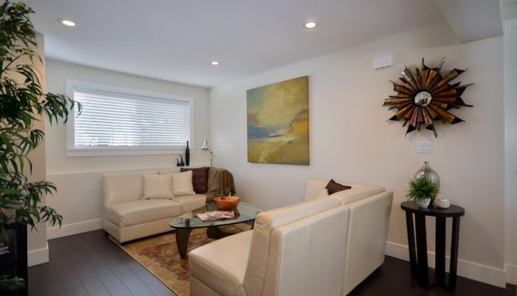 nicely designed basement floors hardwood floor ceiling lamp wall decor table window plant pillows sofa painting