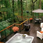 Outdoor Metal Railing With Flower Design Ideas Chairs Table Flowers Fireplace Pool Modern Deck