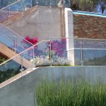 Outdoor Metal Railing With Flower Design Ideas Glass Flowers Modern Landscape Stone Wall Grass