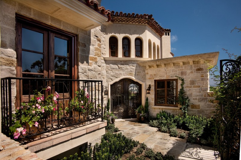 outdoor metal railing with flower design ideas mediterranean exterior stone wall doors windows flowers