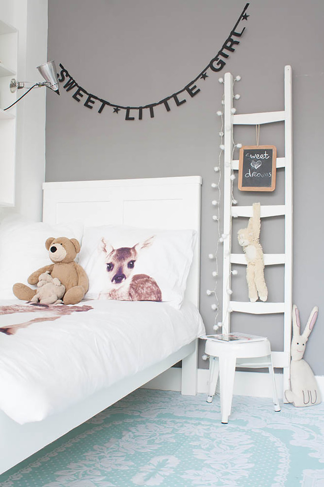 pale grey painted walls idea white bed frame with higher headboard decorative ladder with hookers in white blue area rug under bed