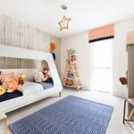 Pale Toned Woodboard Walls Featuring White Walls Ladder Book Shelves Modern White Bed Settee With Accent Pillows Modern Blue Area Rug