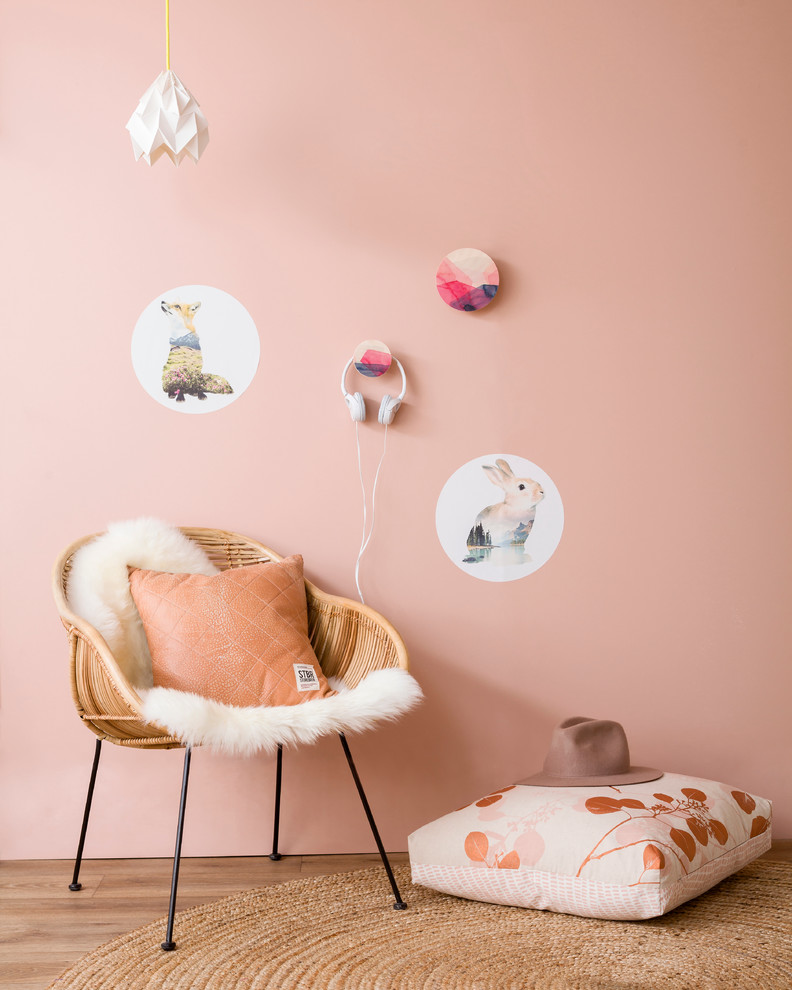 peachy walls idea with cute animal stickers and hookers modern chair with orange accent pillow larger pillows under the chair round shape hand knitted area rug