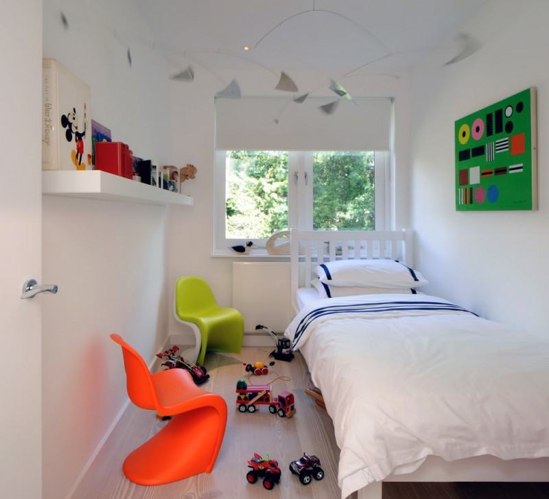 pure white walls idea with bright and dazzling green bulletin board single floating shelf in white orange and green modern chairs simple white bed frame with headboard