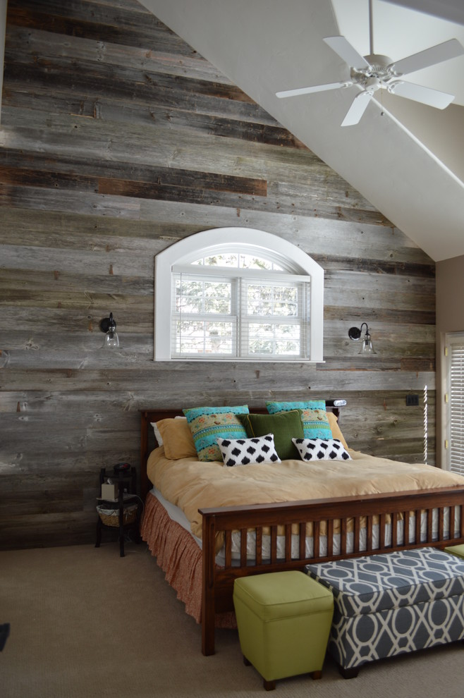 reclaimed wood bed design with traditional headboard cool shabby wood walls with curved glass window and white window shutter modern bench and green stool