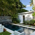Rectangular Small Pool Concrete Wall With Fountains Concrete Pavers White Concrete Sofas