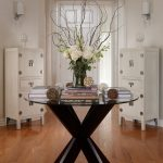 romantic round entryway table curly willow branches think table legs glass table shabby storages wooden flooring simple ceiling