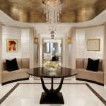 Round Entryway Table Foyer Small Inlaid Glass Floor Tile Mother Of Pearl Wallpaper Silverleaf Ceiling Wallpaper Comfy Couch Long Chandelier