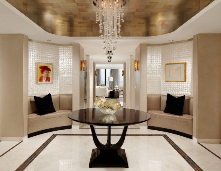 round entryway table foyer small inlaid glass floor tile mother of pearl wallpaper silverleaf ceiling wallpaper