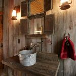 rustic mud wood interior lamps powder room bucket rack faucet wooden wall