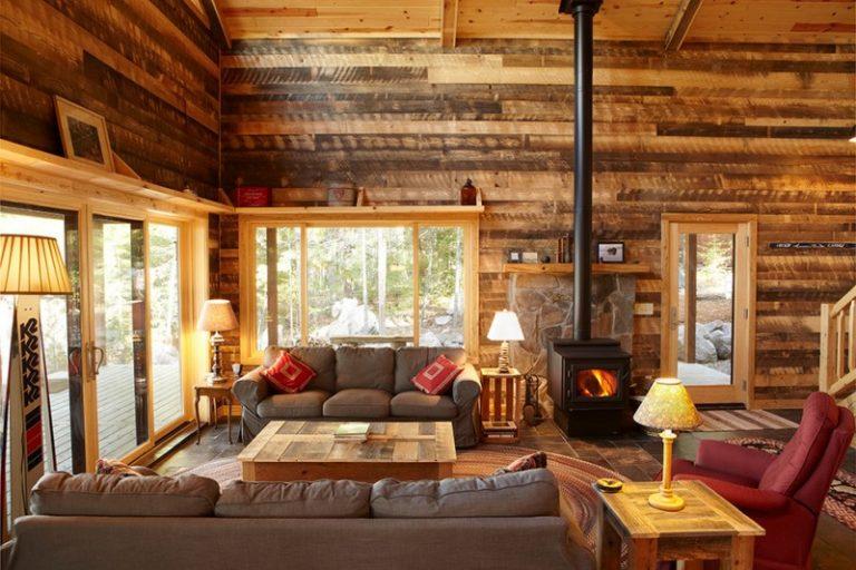 Rustic Mud Wood Interior Living Room Door Lamp Sofa Pillow Wooden Walls  Fireplace Carpet Hardwood Floor