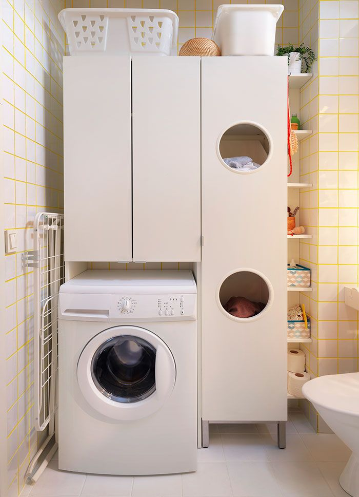 simple and tall utility cabinets for small laundry room