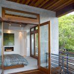 Simple Glass Door For Bedroom Bed Wood Floor Ceiling Railings Fireplace Painting Modern Design