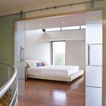 Simple Glass Door For Bedroom Railing Wood Floor Sliding Doors Handles Bed Pillows Window Ceiling Lamps