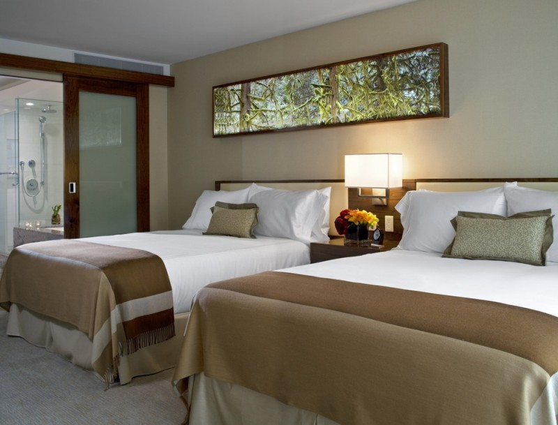 simple glass door for bedroom two beds pillows shower sliding door modern lamp modern bathroom