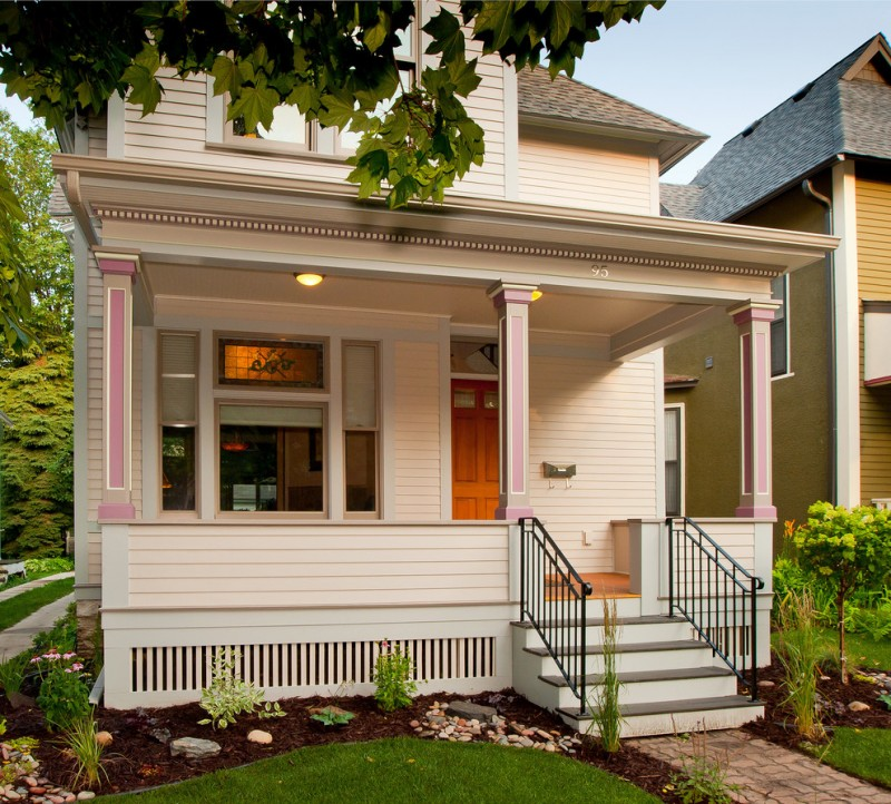 simple white house skirt idea white enclosure model railing system idea made of wood beautiful pink exterior pillars with white line accent modern exterior glass windows