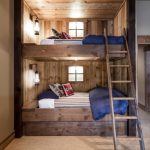 Simple Wood Trundle Bed With Ladder For Cabin House