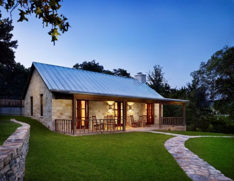Small And Simple Texas Hill Country Ranch Home Plan With Large Green Yard  And Long Veranda