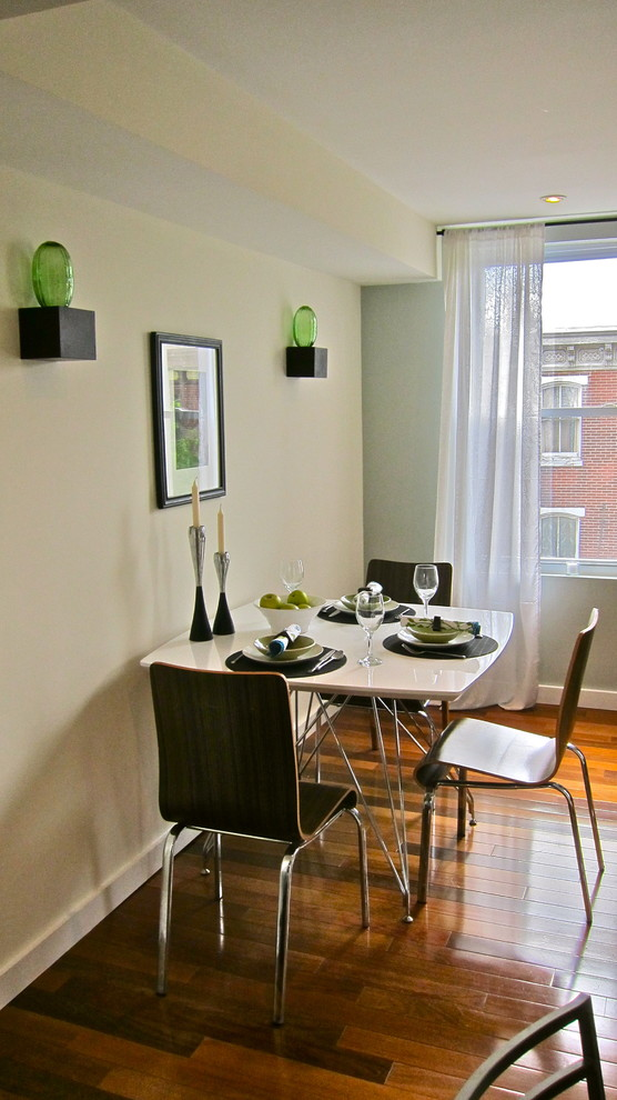 small dining set with white top table, dark brown chair