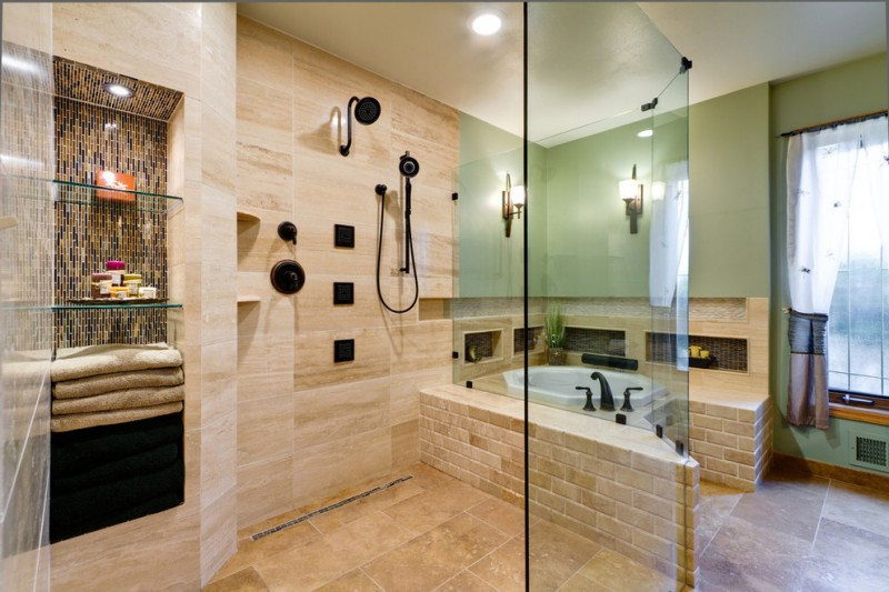 small hexagonal tub in a large bathroom