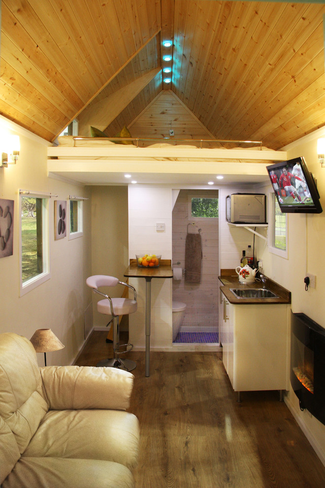 small houses with bedroom on the attic, sofa, small sink, small table chairs, wall mounted heater, TV, bathroom